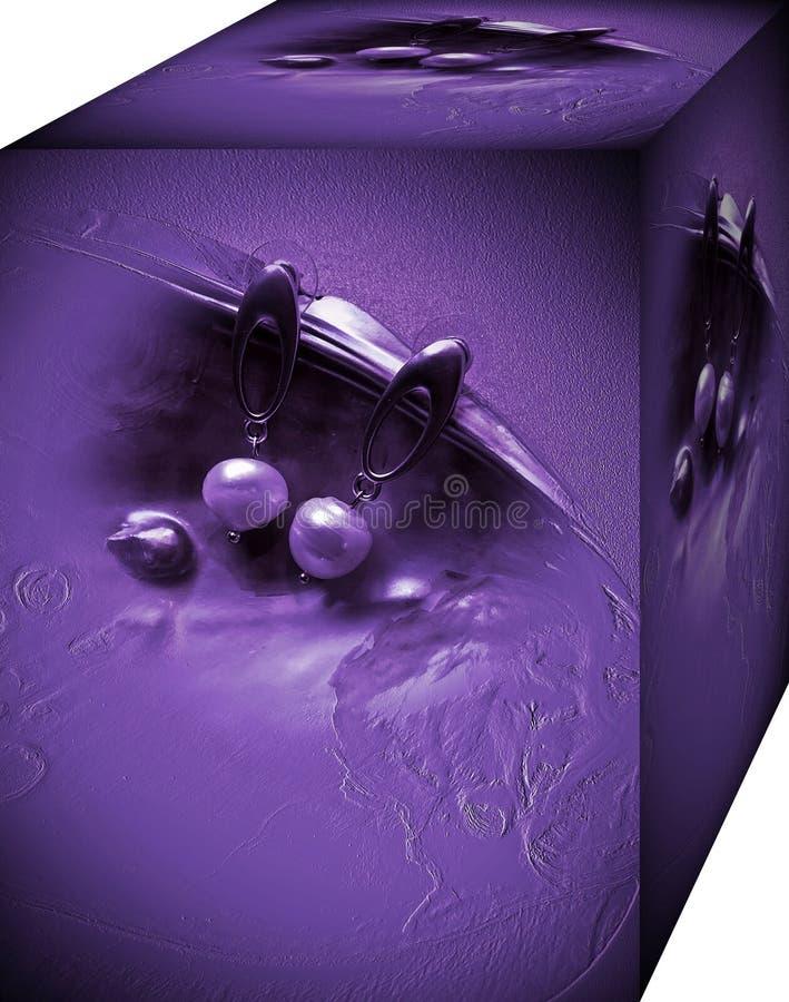 Ask för kvinnors örhängen med en bild av pärlor i en vas Bakgrund illustration 3d royaltyfri illustrationer