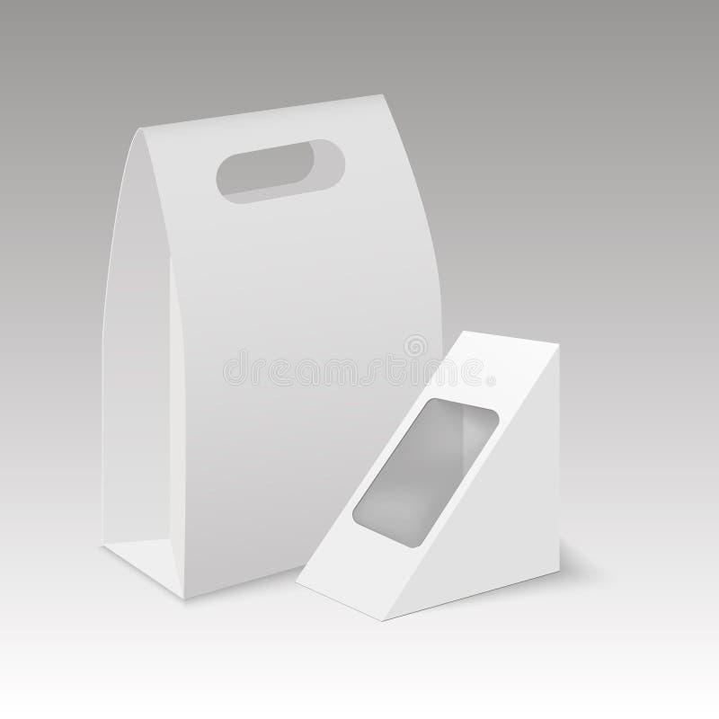 Ask för lunch för handtag för övre tomt för papp för vitåtlöje tagande för rektangel bort vektor illustrationer