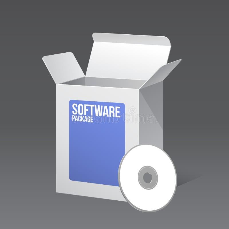 Ask för mellanrum för låda för programvarupacke som öppnas och som är blå med CD- eller DVD-skivan royaltyfri illustrationer