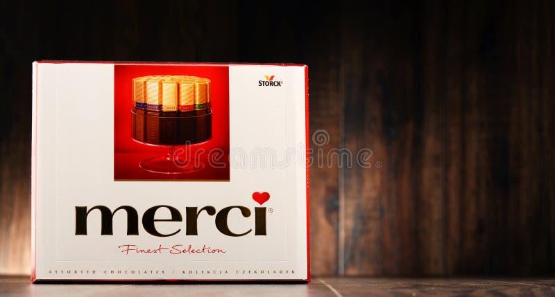 Ask för Merci chokladgodis royaltyfria bilder