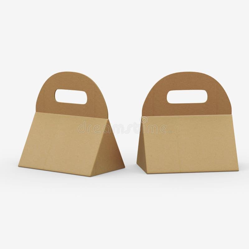 Ask för triangel för Kraft papper med handtaget, inklusive snabb bana vektor illustrationer
