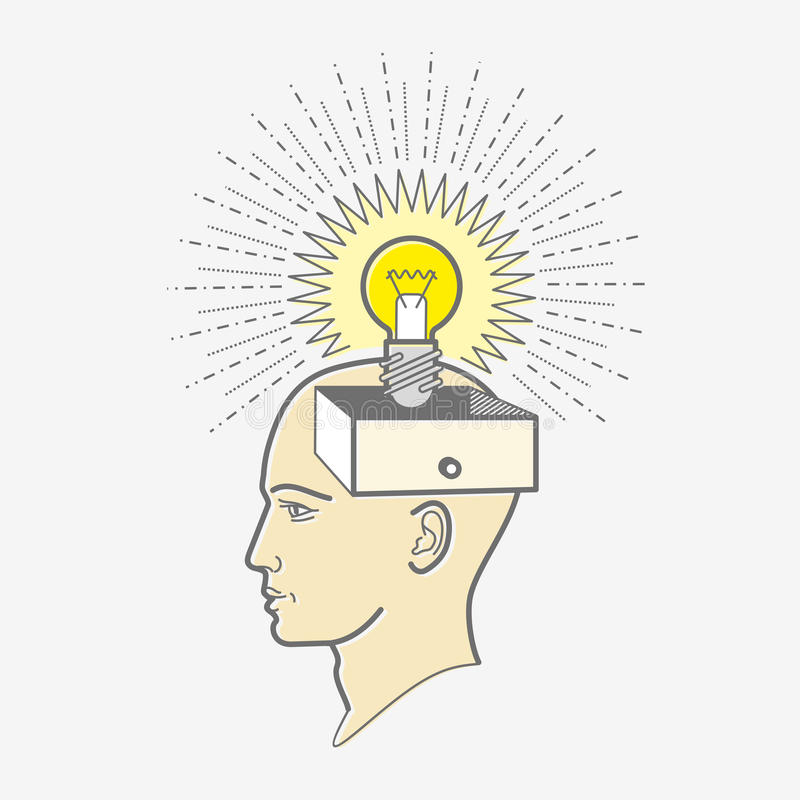 Ask för tryckhuvud: idé royaltyfri illustrationer