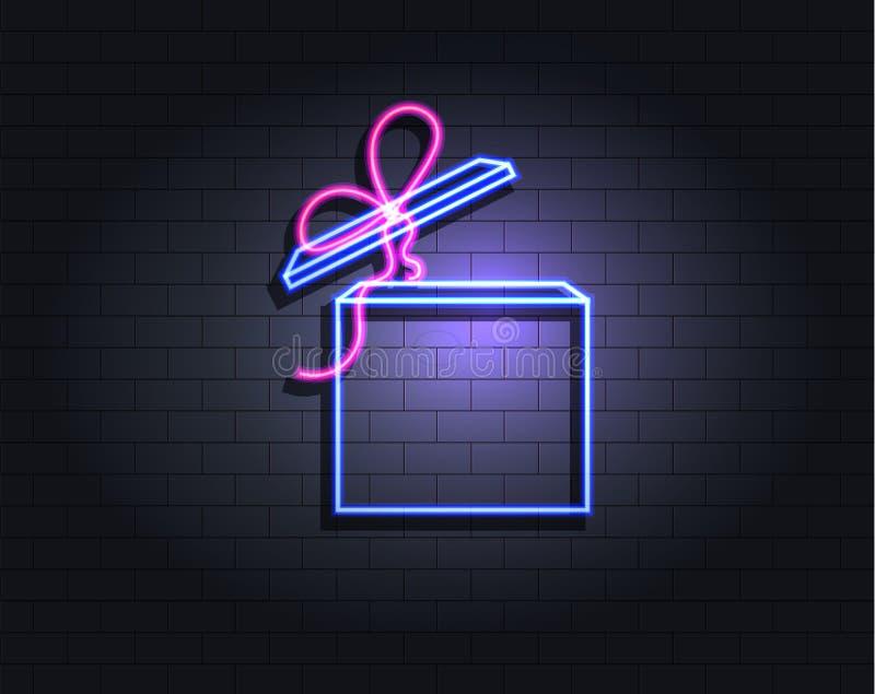 Ask för vektorneongåva, ultravioletta färger, isolerad lysande symbol vektor illustrationer
