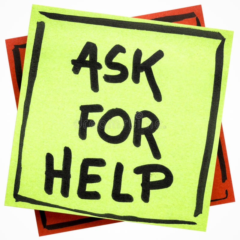 Ask for help advice or reminder stock photo