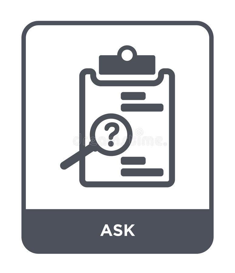 ask icon in trendy design style. ask icon isolated on white background. ask vector icon simple and modern flat symbol for web site vector illustration