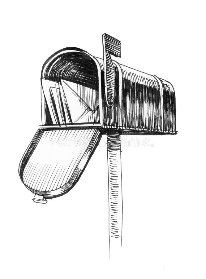 ask isolerat objekt för post 3d stock illustrationer
