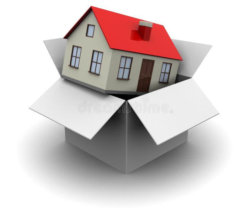 Ask med huset vektor illustrationer
