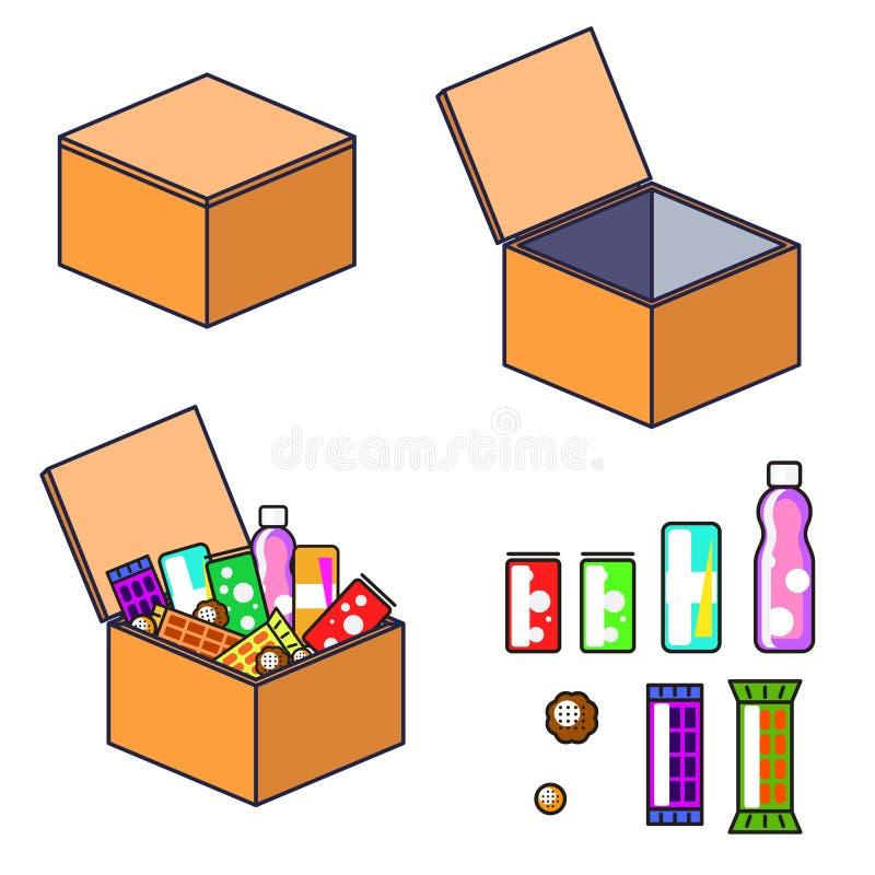 Ask med konst för produktvektorgem stock illustrationer