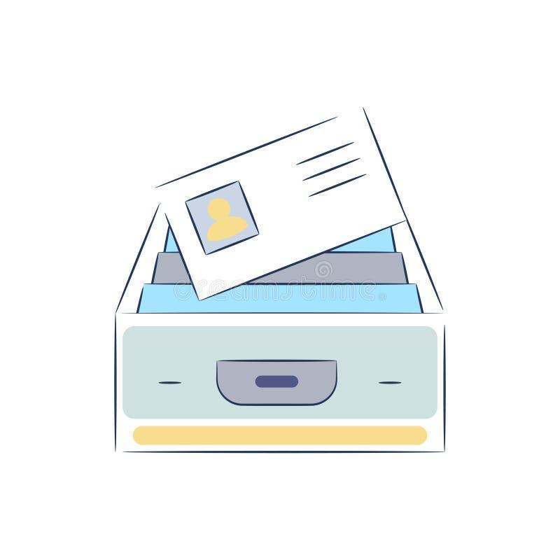 Ask med vektorn för mappdokumentsymbol vektor illustrationer