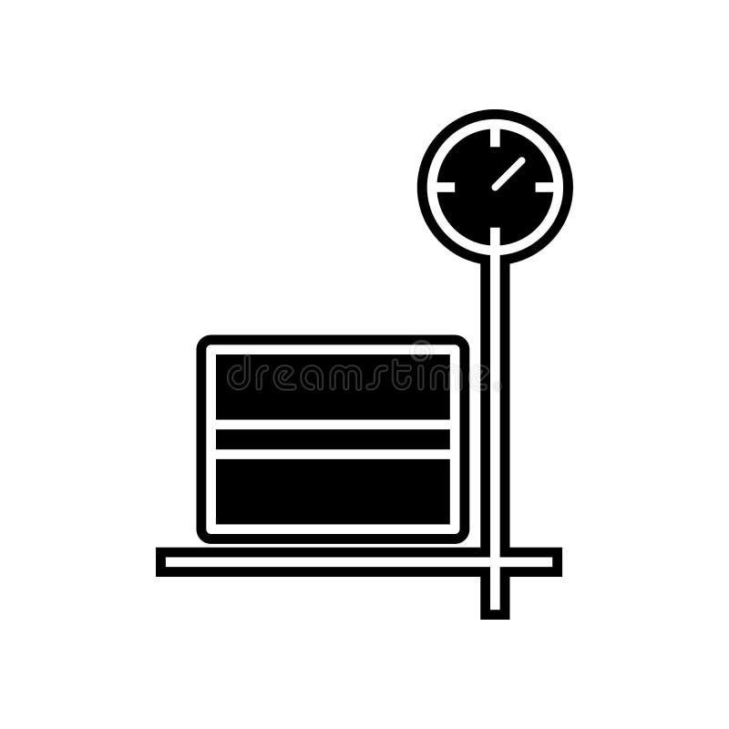 ask på symbol för lagringsskalalast Beståndsdel av logistiken för mobilt begrepp och rengöringsdukappssymbol Skåra plan symbol fö stock illustrationer