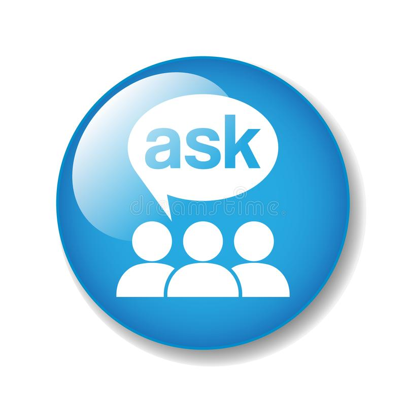 Ask support icon stock illustration