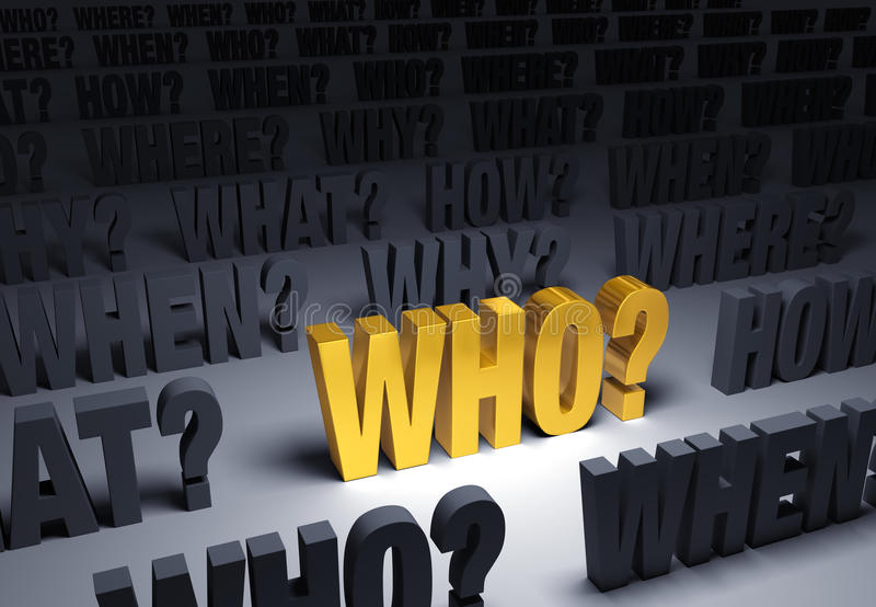 Ask Who. A bright, gold WHO? stands out in a dark background filled with WHO?, WHAT?, WHEN?, WHERE?, and HOW stock illustration