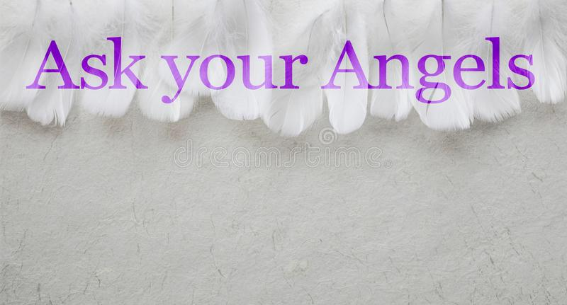 Ask Your Angels White Feather header Background. A random row of white feathers placed side by side against a pale rustic swirly hand made paper background with stock image