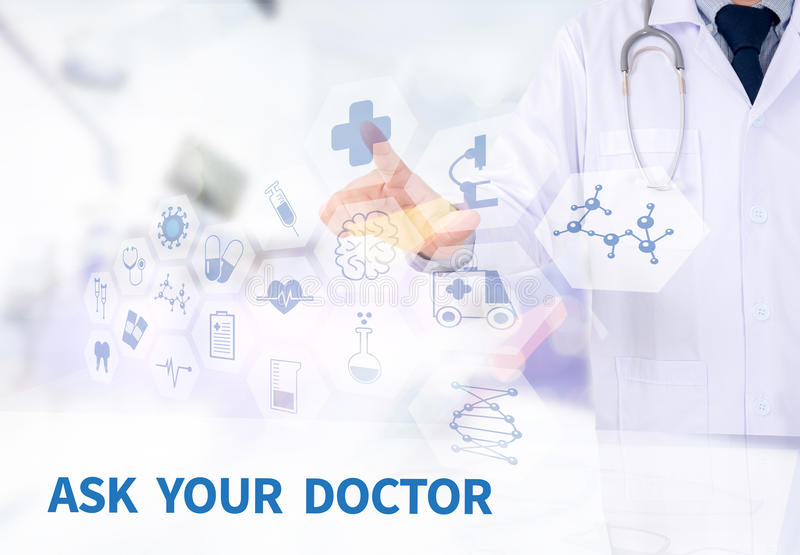 ASK YOUR DOCTOR. Medicine doctor working with computer interface as medical stock photo