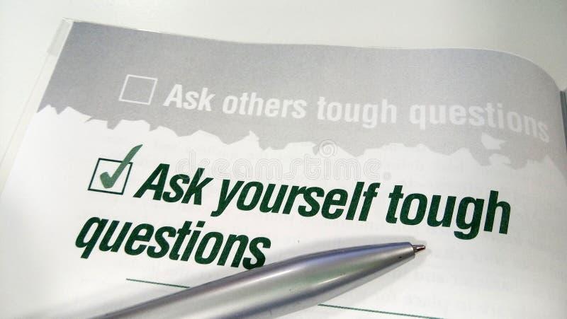Ask yourself tough question royalty free stock photos