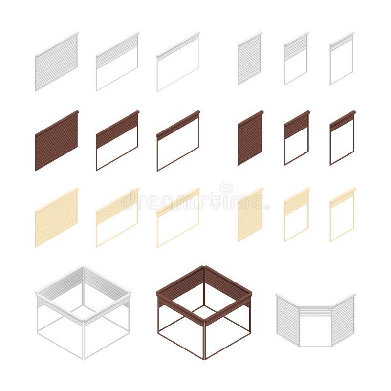 askar 3D av rullande slutare royaltyfri illustrationer