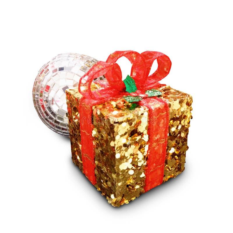 Askar för gåva för dag för ` s för jul och för nytt år guld-, whit för gåvaaskar royaltyfri bild