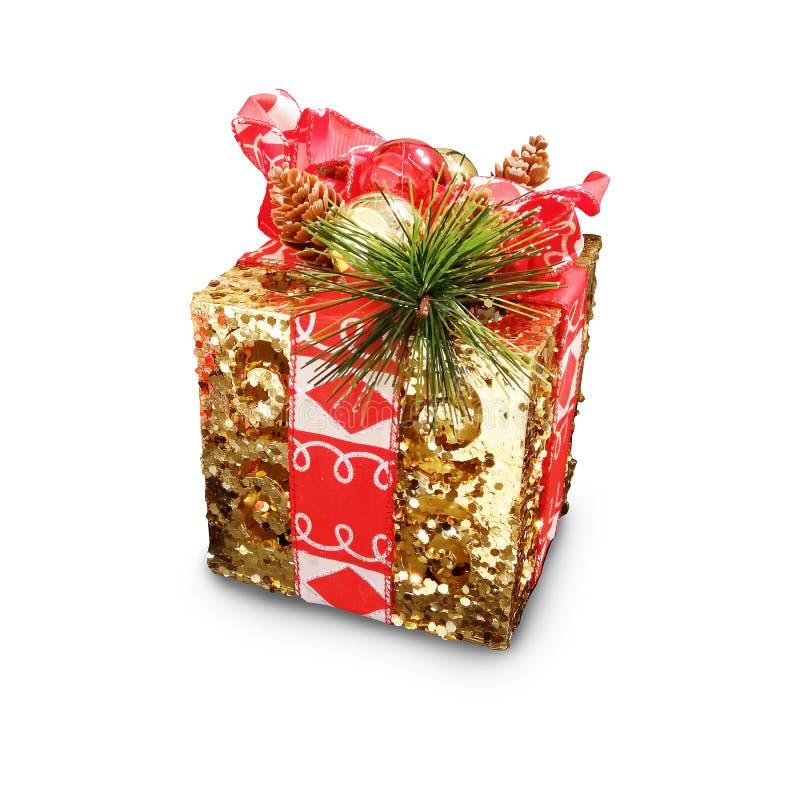 Askar för gåva för dag för ` s för jul och för nytt år guld-, whit för gåvaaskar royaltyfria bilder
