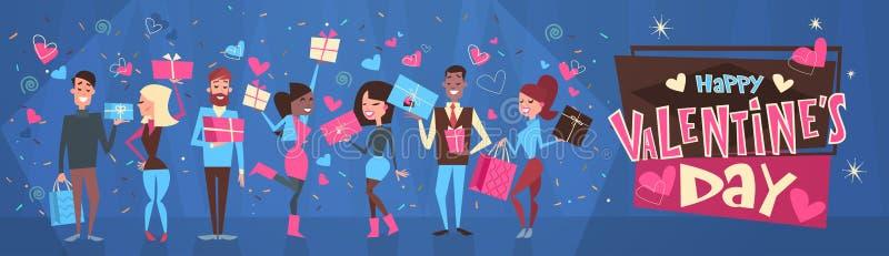 Askar för gåva för folkgrupp hållande över lycklig bakgrund för valentindaghorisontalbaner royaltyfri illustrationer