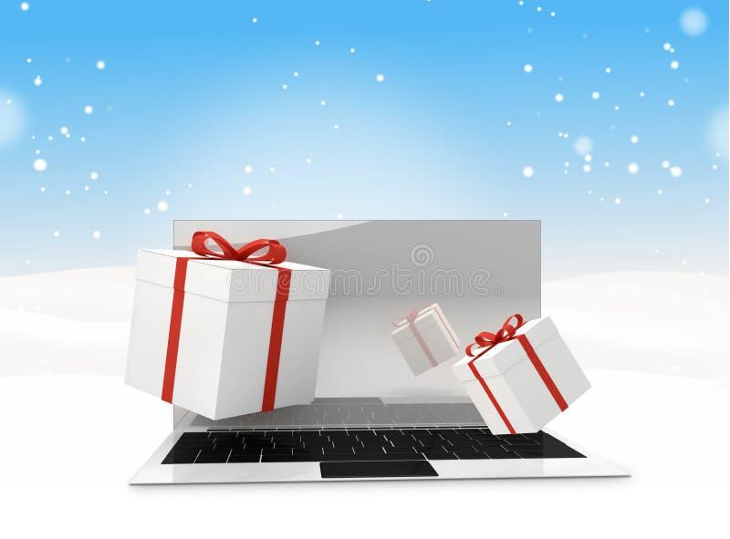 Askar för gåva för julvinterdator skrivbords- 3d-illustration vektor illustrationer