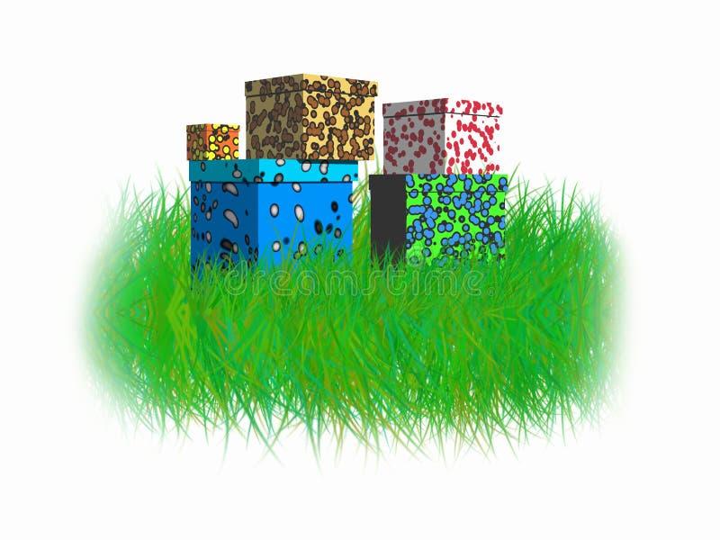 Askar på gräset vektor illustrationer