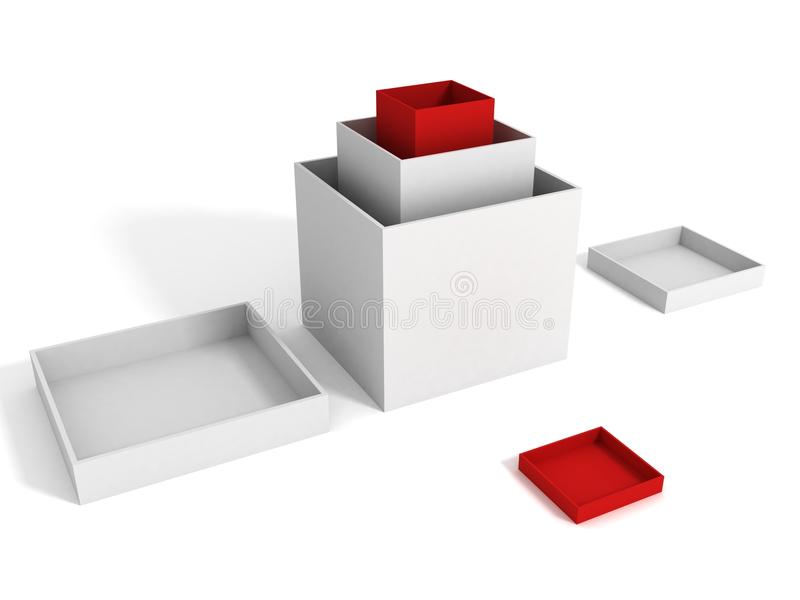 asken boxes den många tomma gåvan röd white royaltyfri illustrationer