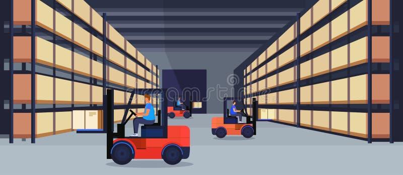 Asken för jordlotten för det funktionsdugliga lagret för gaffeltruckladdaren ror den inre på för leveranslast för kugge logistisk royaltyfri illustrationer