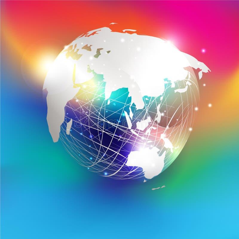 askfat Världskarta för vitboksnittstil på abstrakt ingreppssfär och att blänka pålagd färgrik lutningbakgrund vektor illustrationer