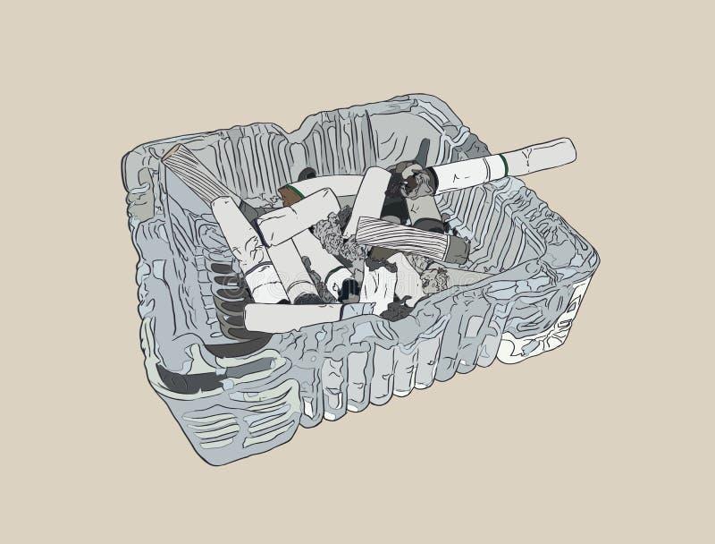 Askfatet och rökte cigaretter, skissar vektorn vektor illustrationer