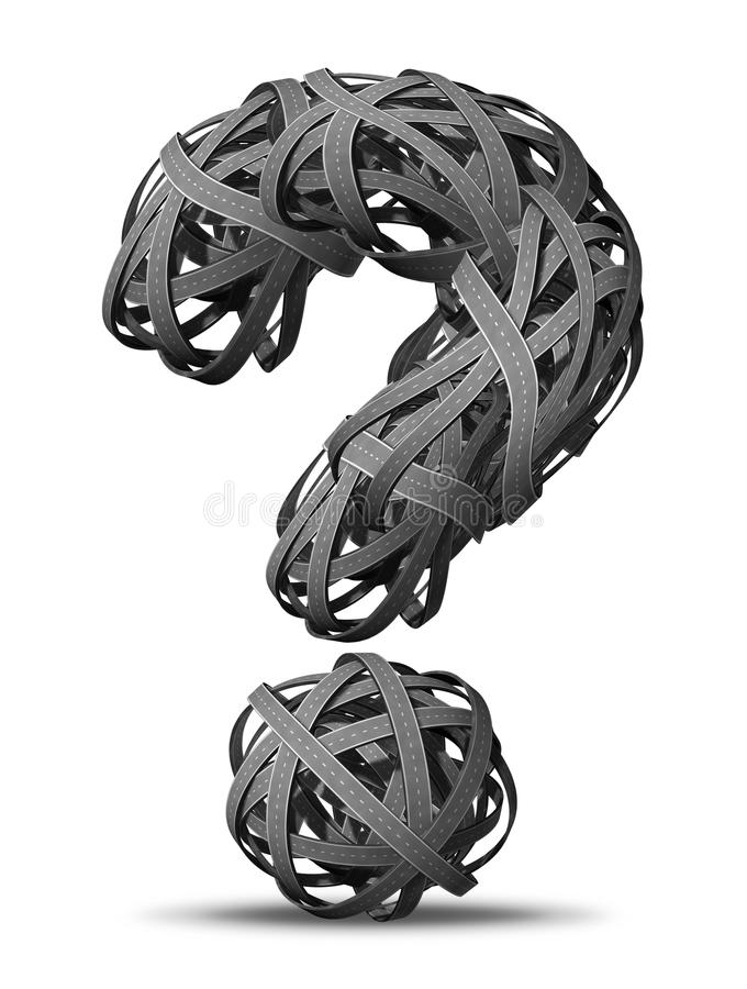 Asking for Directions. Going nowhere in business and life symbol as tangled bundled roads and highways interlinked in the shape of a question mark in a chaotic stock illustration