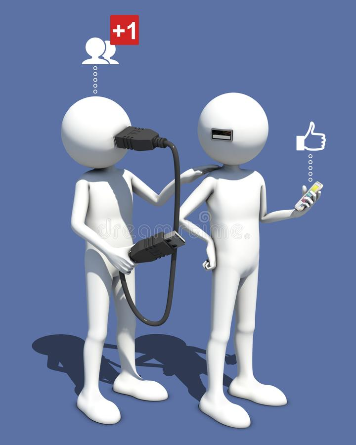 Asking for friend on social network. Making connexion, 3d rendering vector illustration