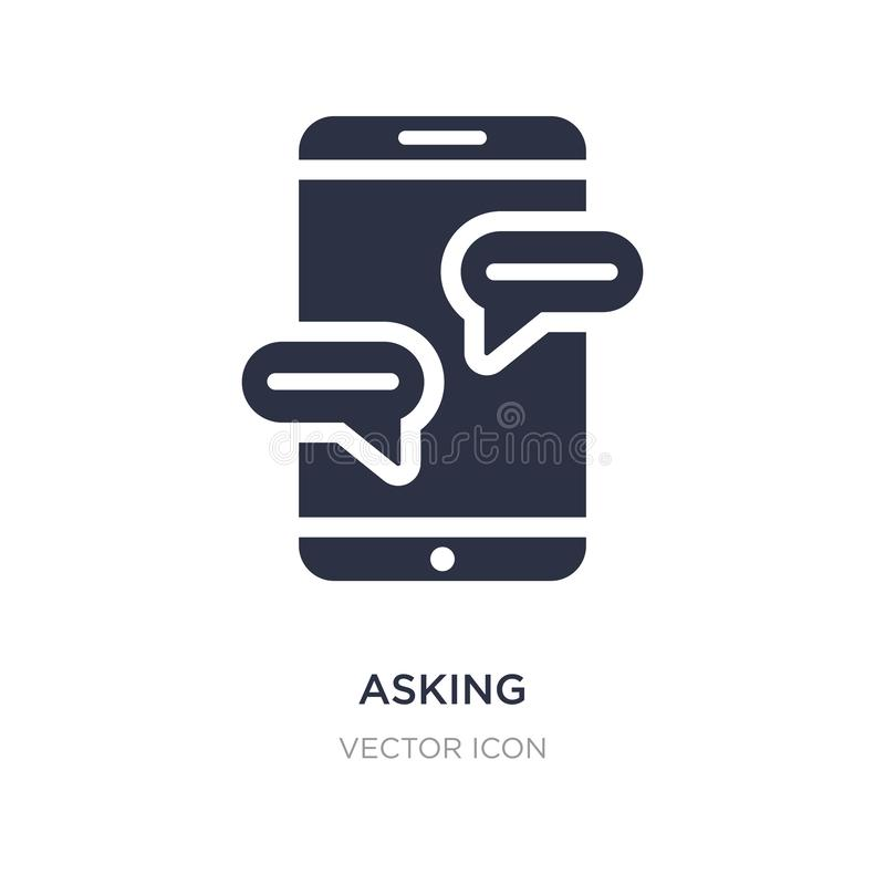 asking icon on white background. Simple element illustration from Technology concept stock illustration