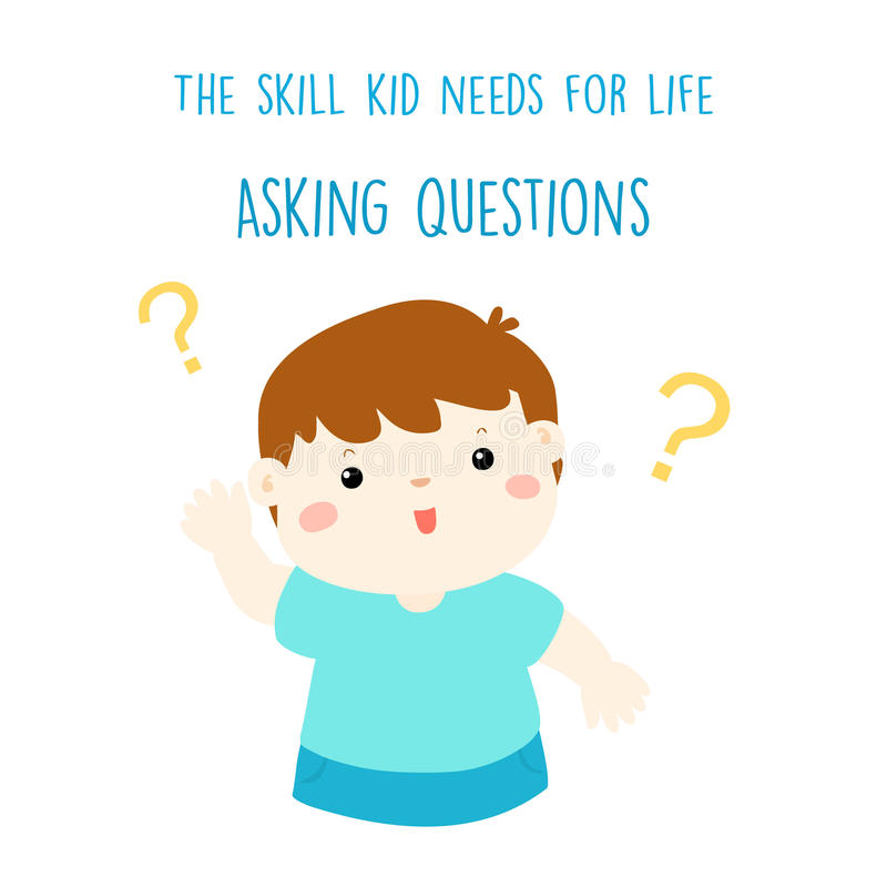 Asking question is skill kid needs for life royalty free illustration
