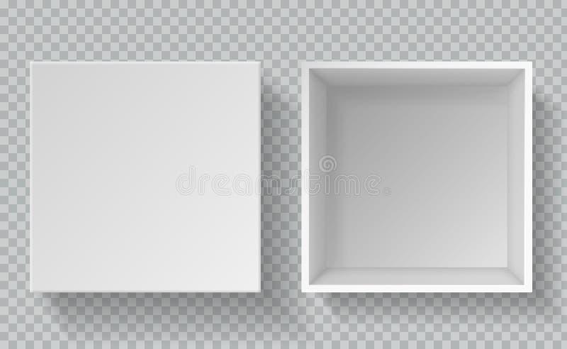 Askmodell Realistiskt papper för bästa sikt som förpackar, behållare för låda för tom papppackekonsument öppen vit med locket royaltyfri illustrationer