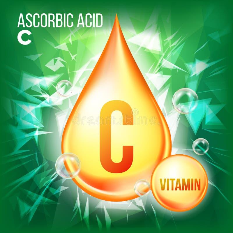 Askorbinsyravektor för vitamin C Guld- droppsymbol för organiskt vitamin Medicinflytande, guld- vikt För skönhet skönhetsmedel vektor illustrationer
