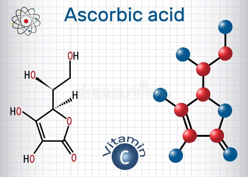 Askorbinsyravitamin C Strukturell kemisk formel och molec stock illustrationer