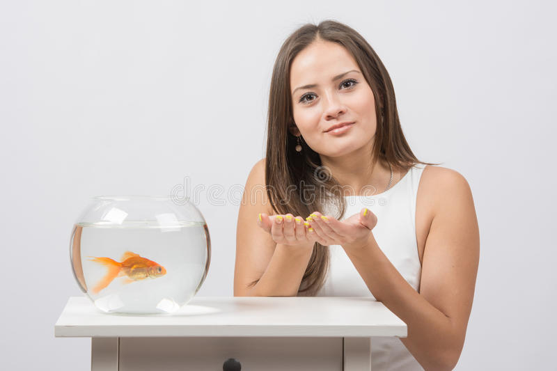 She asks to fulfill the desire to have a goldfish in an aquarium. A young girl sits next to a round aquarium in which swimming goldfish stock photo