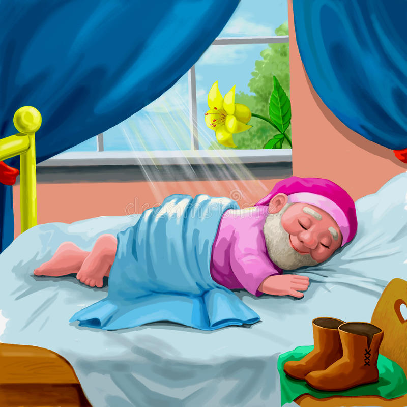 Download Asleep gnome stock illustration. Illustration of fairy - 13747869