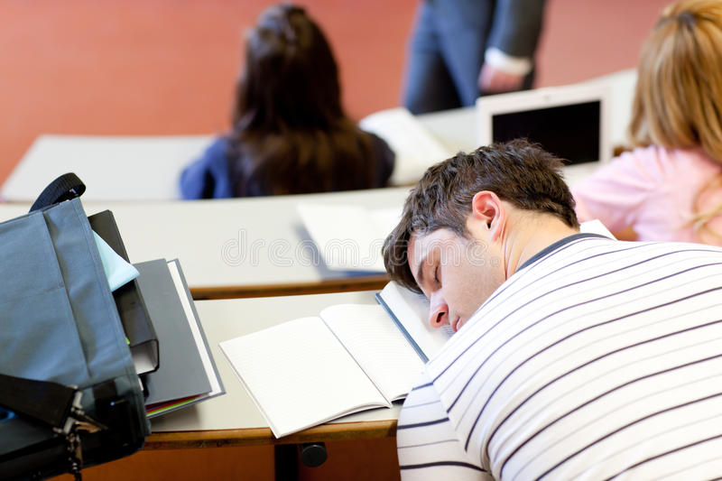 Download Asleep Male Student During An University Lesson Stock Photo - Image: 16262312