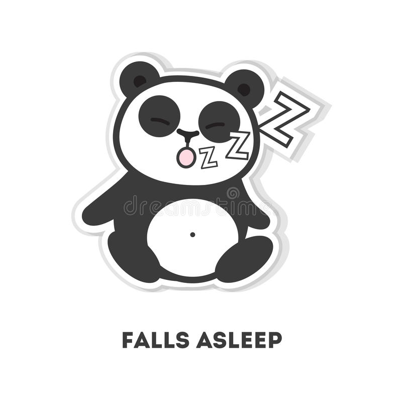 Asleep panda bear. Isolated cute sticker on white background vector illustration