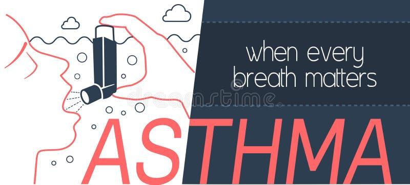Asma bronquial de la bandera ilustración del vector