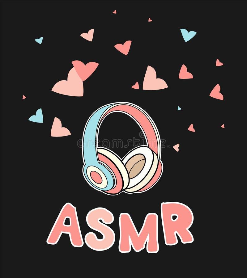 ASMR耳机隔绝了商标,象 自治知觉子午反应例证 桃红色耳机和心脏 库存例证