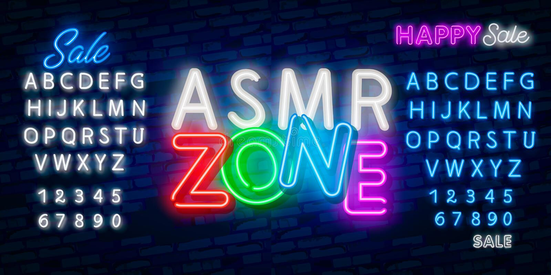 ASMR霓虹传染媒介文本 自治知觉子午反应霓虹灯广告,设计模板,现代趋向设计,夜氖 皇族释放例证