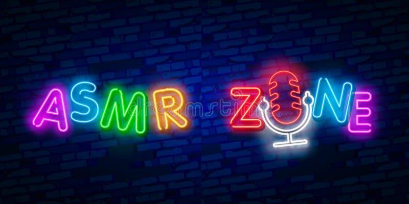 ASMR霓虹传染媒介文本 自治知觉子午反应霓虹灯广告,设计模板,现代趋向设计,夜氖 库存例证