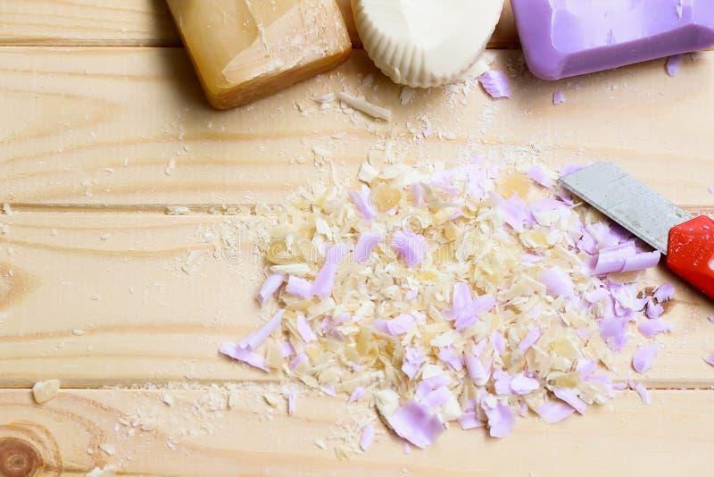 asmr Σαπούνι περικοπών Χαλαρώστε Σύσταση των ξεσμάτων σαπουνιών στοκ φωτογραφίες