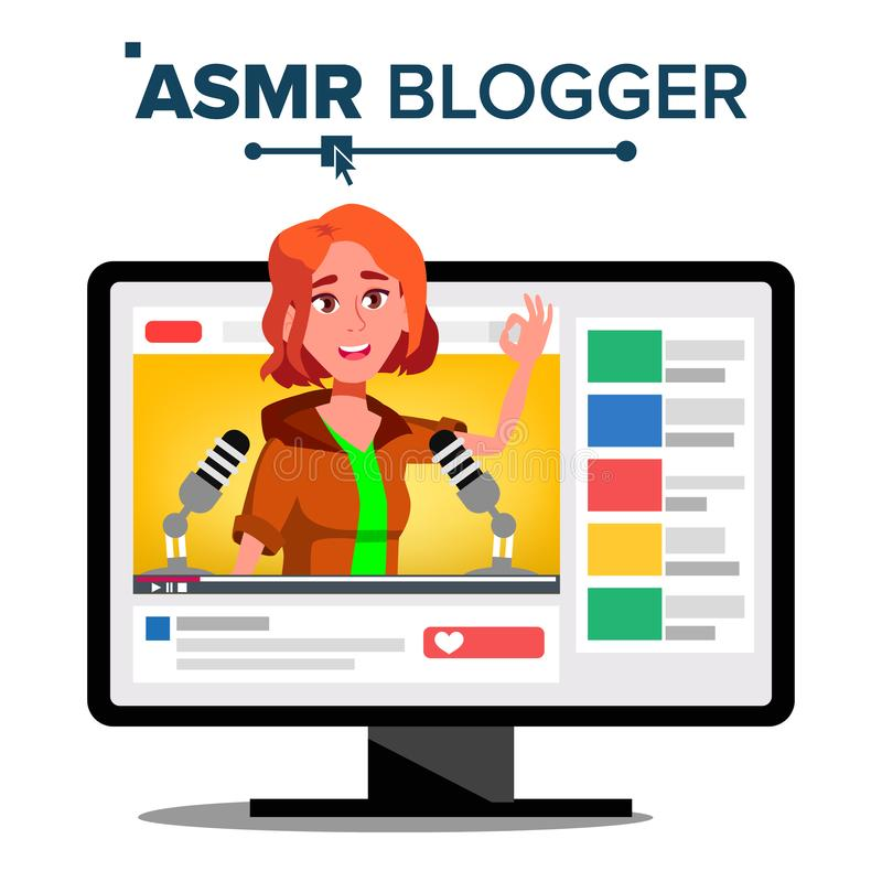 ASMR Blogger Channel Vector. Girl. Enjoying Sound. Video Blog Channel. Isolated Illustration stock illustration