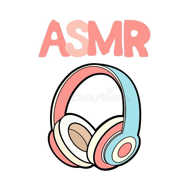 ASMR hełmofony odosobniony logo, ikona Autonomiczna sensualna południk odpowiedzi ilustracja Różowe słuchawki na bielu royalty ilustracja