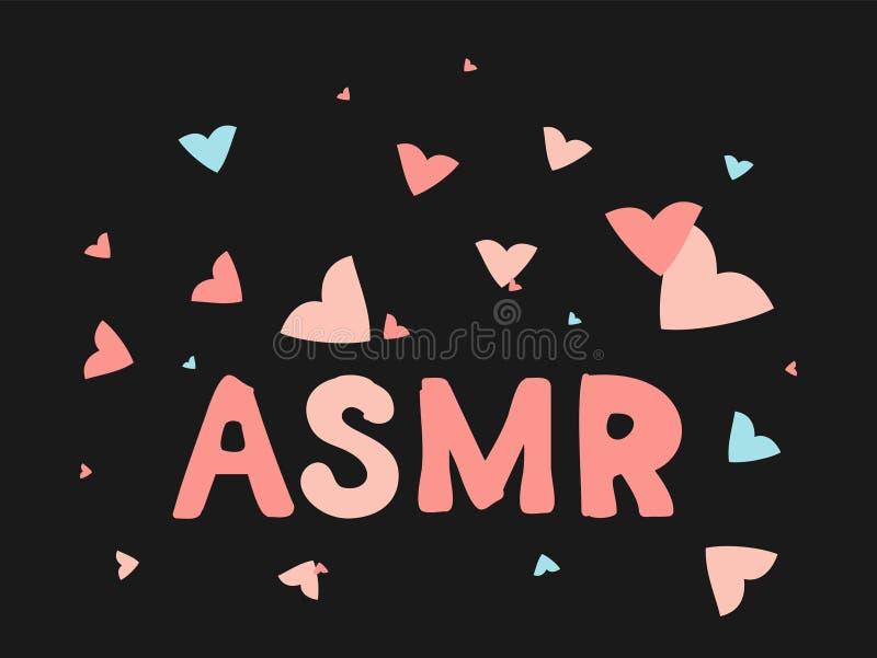 ASMR odosobniony logo, ikona Autonomiczna sensualna południk odpowiedzi ilustracja Latający różowi i błękitni serca ilustracja wektor
