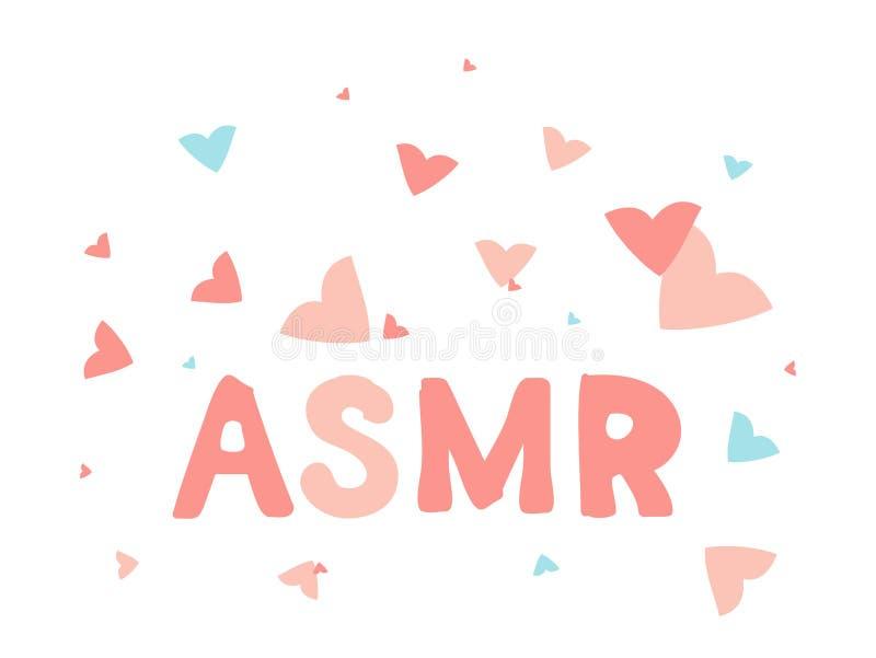 ASMR odosobniony logo, ikona Autonomiczna sensualna południk odpowiedzi ilustracja Latający różowi i błękitni serca ilustracji