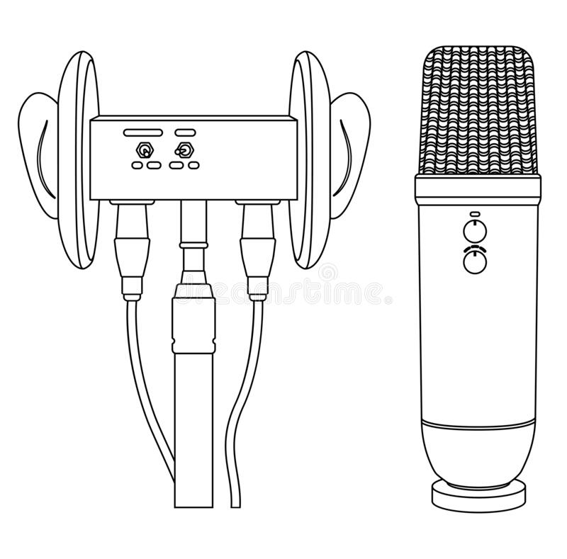 ASMR thin line icon. Microphone for blogger to make massage, whisper, rustling. Autonomous sensory meridian response. Vector ASMR thin line icon. Microphone for royalty free illustration